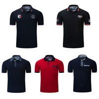 Fashion Men's Embroidery Polo Shirt Short Sleeve Business Casual Cotton T Shirt