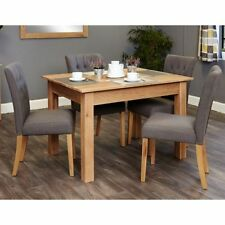 Oak Contemporary Rectangular Table & Chair Sets