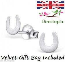 Sterling Silver Lucky Horseshoe Cute Stud Earrings Pony Horse Shoe - Design 1