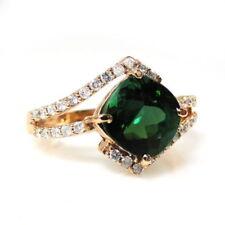 Anelli di lusso con gemme verde in pietra principale tormalina Diamante