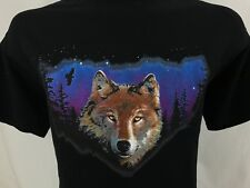 Wolf Face Wolves Night Stars Eagle Graphic T Shirt 100% Cotton XL X-Large