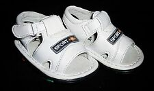 Shoes Toddler Sandals White Leather like Uppers Rubber Soles Baby Size 2 C12202