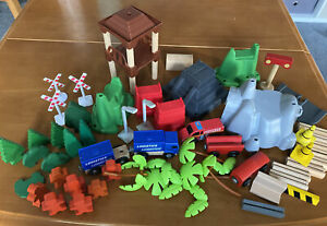 Wooden train set track accessories trees signs Some Brio Bits