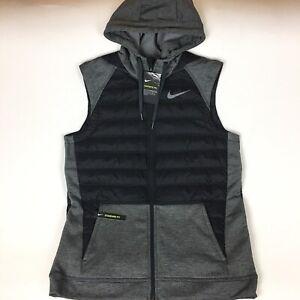 Nike Therma Winterized Training Vest Hoodie Black Gray Men's Sz M BV4534-071 NWT