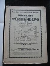 alte Karte Landkarte Wegekarte v.Württemberg in 2 Blättern südliche Hälfte 1940