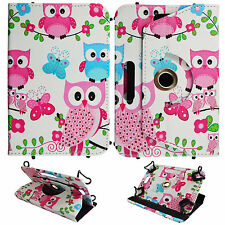 Pink Blue Owl Butterfly For Kindle Fire HD 6 inch Tablet Syn Leather Case Cover