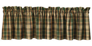"Scotch Pine Plaid Valance 72"" x 14"" Kitchen Cabin Porch Park Designs Rustic"