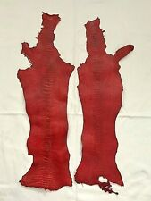 NEW Grade A 100% Genuine Ostrich Leg Skin Finished Leather(2) (Red)(12x50cm)