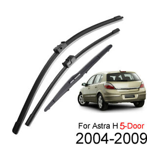 Set For Vauxhall Opel Astra H 04-09 Front & Rear Window Windscreen Wiper Blades