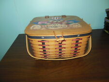 Longaberger Proudly American Small Picnic Set with Protector & Hand-Painted Lid
