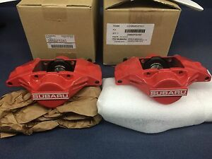 Genuine SUBARU WRX OEM RED SUBARU 2 PISTON BRAKE CALIPER Rear Set Pair 2006-07