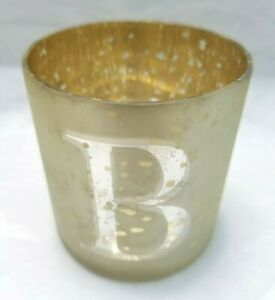 """Mud Pie Initial Votive Glass Candle Holder 3"""" Round (Choose Initial) - Free Ship"""