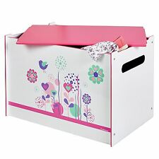 FLOWERS AND BIRDS TOY BOX MDF CHILDRENS STORAGE BOX PINK WHITE NEW FREE P+P