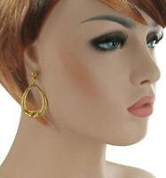 """Gold Tone Doorknocker Dangle Pierced Earrings 1 7/8"""""""