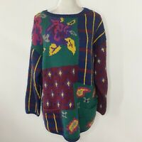 Vintage Adrienne Vittadini Size Large Sweater Floral Wool Long Sleeves