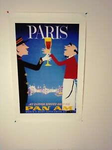 Travel Airline Advertising Poster-Pan Am-Paris Jet Clipper Service/Fine Artwork