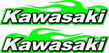 "Kawasaki logo flame 2 sticker decal set red  5"" x 22"" each"