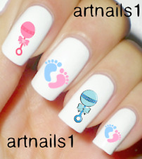 Baby Shower Nails Nail Art Water Decals Stickers Gift Manicure Salon Mani Polish