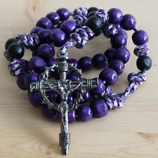 Rosary Purple Camo Paracord Wood Rope Cord Wearable Crucifix Catholic Rosario