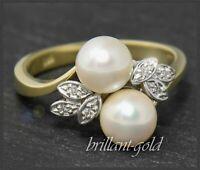 Diamant & Perlen Damen Ring aus 585 Gold, 14 Karat Gelbgold & Weißgold