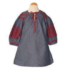 Zara Kids Girls Chambray Dress Embroidered Tassel Size 5