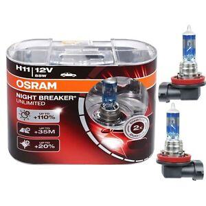 2 AMPOULES H11 OSRAM NIGHT BREAK UNLIMITED 55W 12V 110% D'ECLAIRAGE EN PLUS