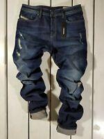 New Diesel Men's Jeans Buster R48T4 Regular Slim Tapered Stretch Blue Distressed