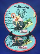 "Big Sky Carvers SUMMER VACATION Retro Postcard 8 1/4"" SALAD PLATES Set of 2"