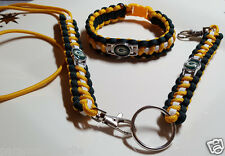 Green Bay Packers Handmade Paracord Bracelet. Lanyard & Deluxe Key Chain Set