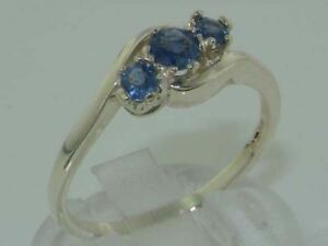 10ct White Gold Natural Sapphire Womens Trilogy Ring - Sizes J to Z
