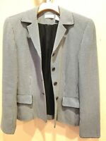 Ann Taylor Womens Sz 6 Black White Fitted Button Suit Jacket Blazer Career Work