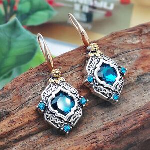 Vintage Blue Sapphire Flower Dangle Drop Earrings Silver Gold Women Band Jewelry