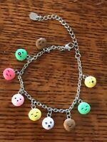 Estate Whimsical Silvertone Chain w Plastic Emoji Macaron Charm Bracelet – 7 inc