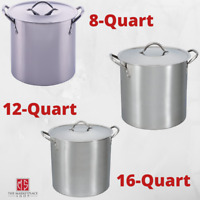 STAINLESS STEEL 8/12/16 qt STOCKPOT With Lid Cooking Kitchen Soup Sauce Stew