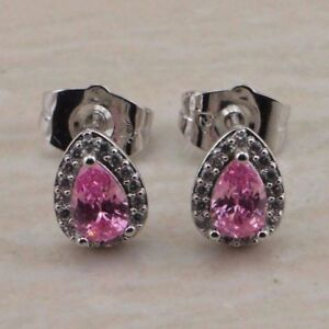 Pretty New White Gold Filled Pear Shape Pink Tourmaline w/ Accents Stud Earrings