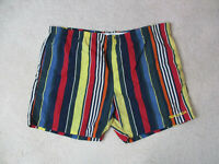 VINTAGE Nautica Swim Trunks Adult Large Blue Yellow Striped Spell Out Shorts 90s
