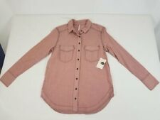 Free People Women's Mauve/Pink Cotton Long Sleeves Button Down Shirt Sz S NWT
