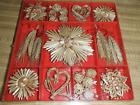 Scandinavian Nordic Straw Christmas Ornaments  45 piece box Hearts Stars Wheat