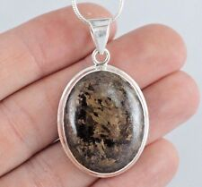 14g Bronzite Pyrite 925 Sterling Silver Drop Pendant Necklace Jewellery