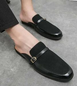 Men's Slippers Slip On Flats Buckle Leisure Square Toe Summer Mules Shoes Comfy