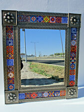 PUNCHED TIN MIRROR with mixed talavera tile, mexican handmade  wall decoration