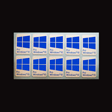 10 x Windows 10  Pro sticker badge aufkleber  - HD Quality (cyan)