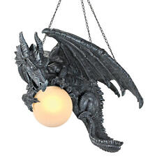 """Night's Fury Sculptural Hanging 15½"""" Dragon Design Toscano Lamp With Glass Orb"""