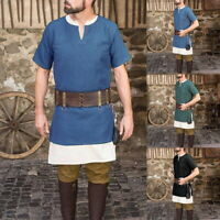HOT Men's Summer V Neck Loose Shorts Sleeve T-Shirt Tunic Medieval Costume GIFT
