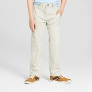 Boys' Flat Front Straight Fit Stretch Uniform Chino Pants Light Khaki Size 14