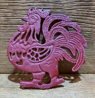 "Cast Iron Rustic Red Rooster Kitchen Trivet 7 1/2"" tall by 7 1/4"" wide 9011"