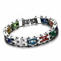 Biker Mens Stainless Steel Rainbow Silicone Motorcycle Chain Cuff Bracelet 8.1""