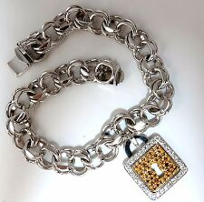 1.00ct natural fancy color diamonds lock charm bracelet 18kt (8) inch