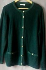 Size 20 Green Wool 30% Blend Classic Warm Cardigan Gold Buttons Pockets NEW