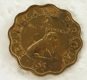 1953   Paraguay coin   50 Centimo    LION   coins very  sweet coins